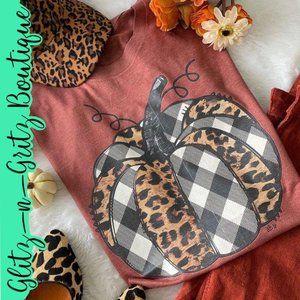 Fall Leopard Plaid Pumpkin Plus Tee Shirt Rust 2XL
